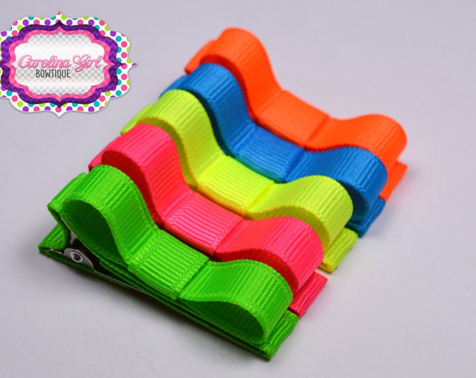 Neon Hair Clips Basic Tuxedo Clips Alligator Non Slip Barrettes for Babies Toddler Girl Teens Set of 5
