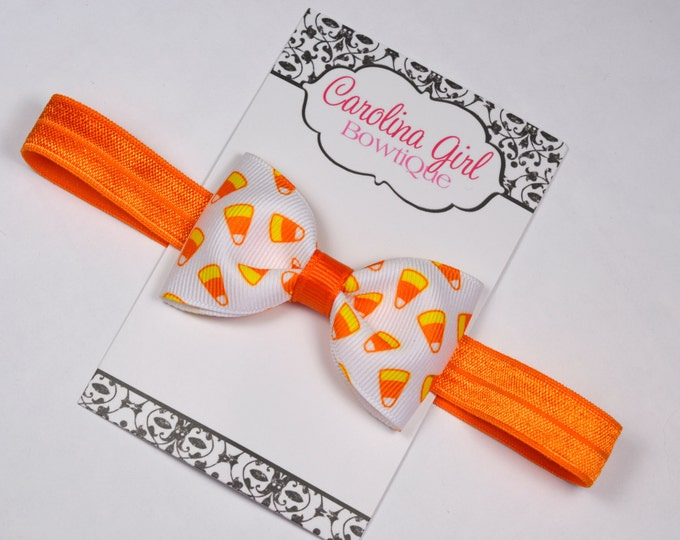 "Candy Corn Tuxedo Bow Headband ~ 3"" Hairbow ~ Baby Bow  Headband ~ Toddler Bow Headband ~ Infant Headband ~ Fall Halloween"