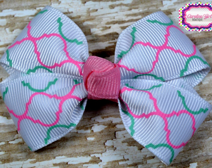 Pink & Mint Quatrefoil Hair Bow 2.5 Inch Pinwheel Boutique Bow for Babies Toddlers Girls Hair Bows