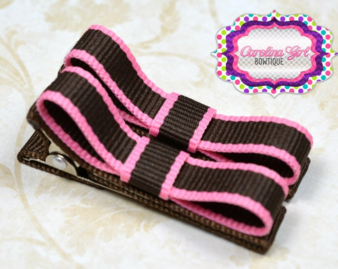 Pink & Brown Lollipop Hair Clips Basic Tuxedo Clips Alligator Non Slip Barrettes for Babies Toddler Girl Set of 2