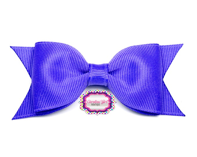 "Periwinkle Tuxedo Bow ~ 3.5"" Hairbow ~ Small Hair Bow ~ Girls Barrette ~ Toddler Bow ~ Baby Hair Bow ~ Hair Clip ~ Girls Hair Bow"