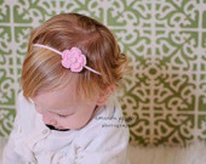 Pink Crochet Flower Headband Infant Headband - Girls Hair Band - Headband