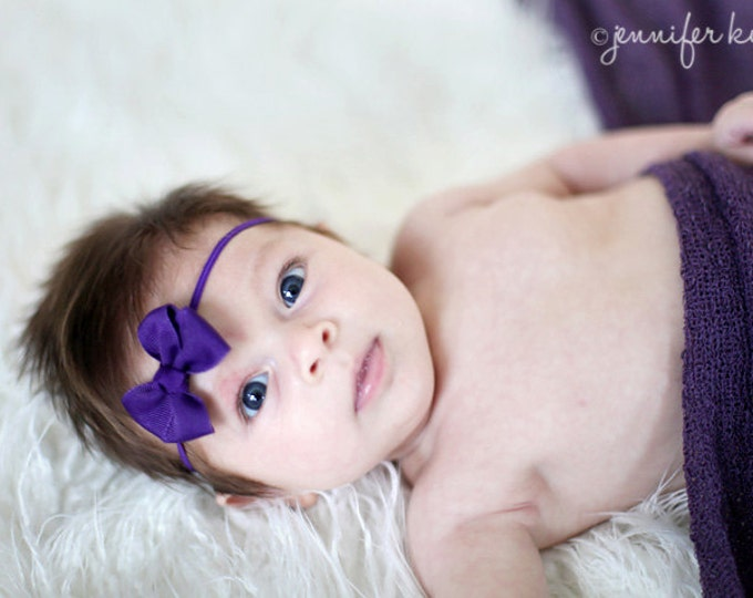 Purple Newborn Headband - 2 in. Bitty Bow on an Elastic Headband - Girls Hair Bows - Baby Headband