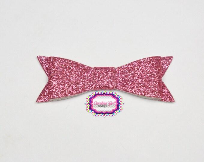 "Hot Pink Glitter Felt Tuxedo Bow  ~ 2"" Hairbow ~Small Bow ~Girls Barrette ~Toddler Bow ~ Baby Hair Bow ~ Hair Clip ~ Girls Hair Bow"