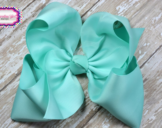 6 in. Aqua Boutique  Hair Bow - XL Hair Bow - Big Hair Bows - Girl Hair Bows