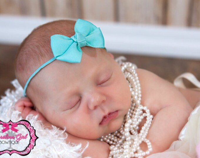 Aqua Newborn Headband - 2 in. Bitty Bow on an Elastic Headband - Girls Hair Bows - Baby Headband