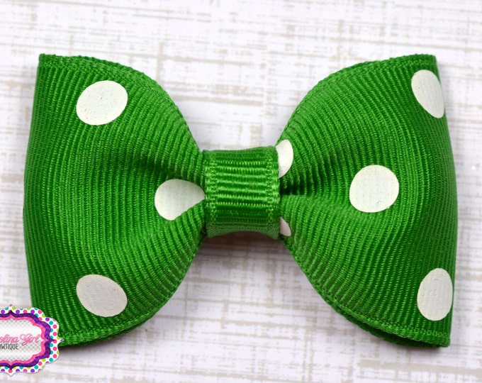 "Emerald Polka Dots Tuxedo Bow ~ 2.5"" Hairbow ~ Small Hair Bow ~ Girls Barrette ~ Toddler Bow ~ Baby Hair Bow ~ Hair Clip ~ Girls Hair Bow"