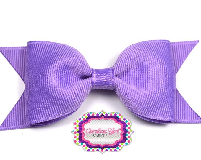"Dark Orchid Tuxedo Bow ~ 3.5"" Hairbow ~ Small Hair Bow ~ Girls Barrette ~ Toddler Bow ~ Baby Hair Bow ~ Hair Clip ~ Girls Hair Bow"