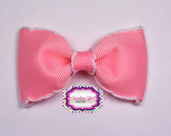 "Pink w/ White Stitching 3"" Hair Bow Tuxedo Bow Simple Bow Boutique Bow for Babies Toddlers Girls Hair Bows"