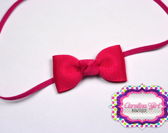 Shocking Pink Newborn Headband - Small Headband withTiny Bow on Skinny Elastic - Girls Hair Bows