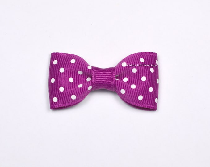 Festive Fuschia Dots Baby Hair Bow ~ 2 in. Bow with No Slip Grip ~ Small Hair Bows Newborns Toddler Girls