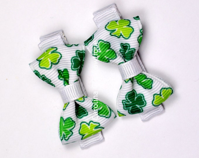 St Patricks Day Hair Bow Set of 2 Small Hairbows - Girls Hair Bows - Clippies - Baby Hair Bows ~ No Slip Grip always added