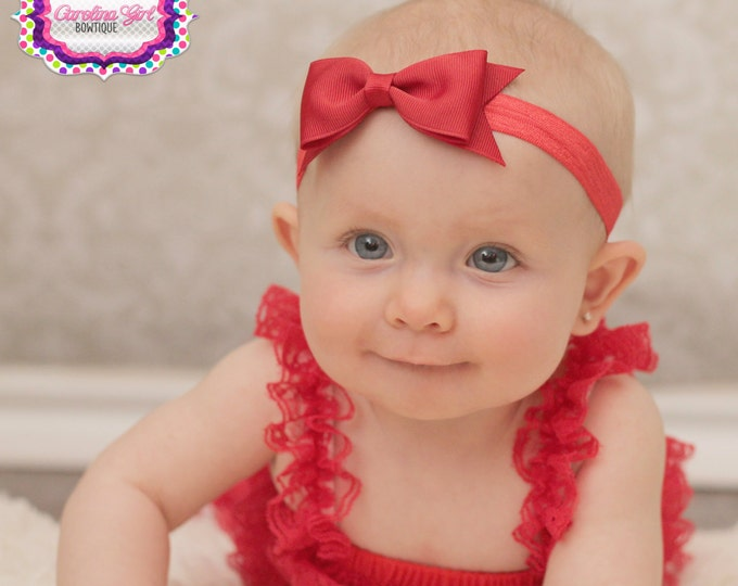 "Red Tuxedo Bow Headband  ~ 3.5"" Hairbow ~ Small Hair Bow ~ Girls Headband ~ Toddler Bow ~ Baby Hair Bow ~ Hair Clip ~ Girls Hair Bow"