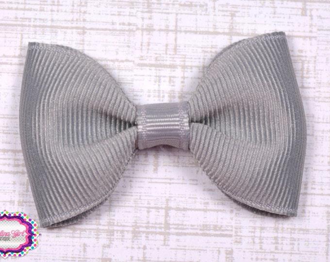 "Millenium Silver Tuxedo Bow  ~ 2.5"" Hairbow ~ Small Hair Bow ~ Girls Barrette ~ Toddler Bow ~ Baby Hair Bow ~ Hair Clip ~ Girls Hair Bow"