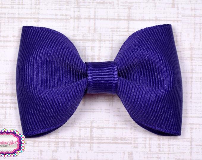 "Purple Tuxedo Bow  ~ 2.5"" Hairbow ~ Small Hair Bow ~ Girls Barrette ~ Toddler Bow ~ Baby Hair Bow ~ Hair Clip ~ Girls Hair Bow"