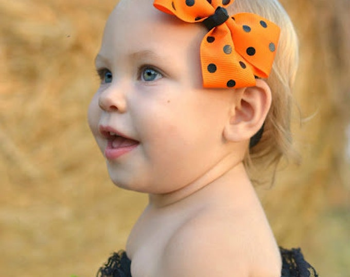 Orange with Black Polka Dots Bow Headband - Halloween Bow on an Elastic Headband - Girls Hair Bows