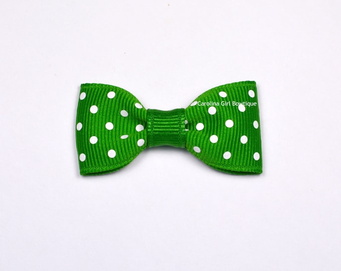 Emerald Dots Baby Hair Bow ~ 2 in. Bow with No Slip Grip ~ Small Hair Bows Newborns Toddler Girls
