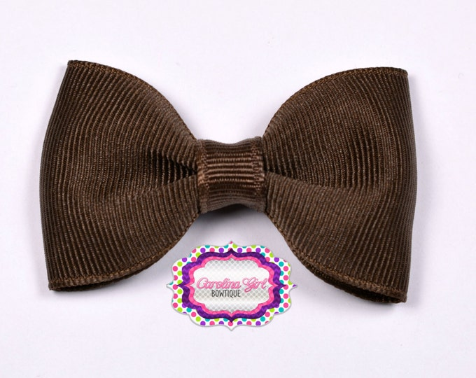 "Brown 2.5"" Hair Bow Tuxedo Bow Simple Bow Boutique Bow for Babies Toddlers Girls Hair Bows"