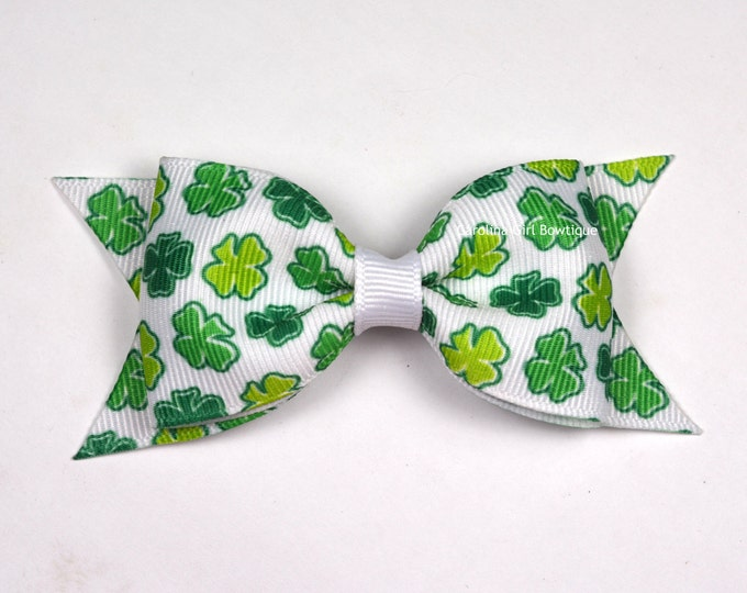 "St. Patrick Day Tuxedo Bow ~ 3.5"" Hairbow ~ Small Hair Bow ~ Girls Barrette ~ Toddler Bow ~ Baby Hair Bow ~ Hair Clip ~ Girls Hair Bow"