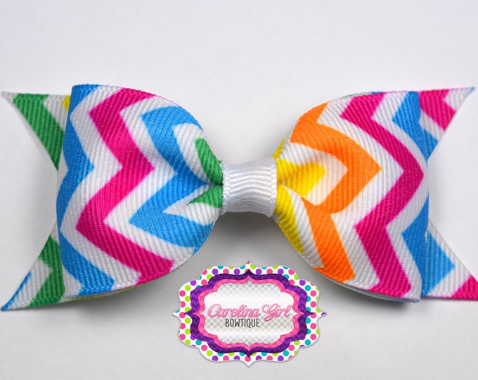 "Neon Chevron Tuxedo Bow ~ 3.5"" Hairbow ~ Small Hair Bow ~ Girls Barrette ~ Toddler Bow ~ Baby Hair Bow ~ Hair Clip ~ Girls Hair Bow"