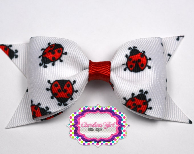 "Lady Bug Tuxedo Bow ~ 3.5"" Hairbow ~ Small Hair Bow ~ Girls Barrette ~ Toddler Bow ~ Baby Hair Bow ~ Hair Clip ~ Girls Hair Bow"