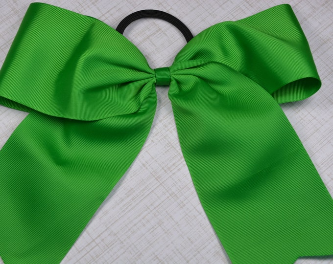 Green Bow - 8 in. Cheer Bow on Pony- 0 - Cheerleading Practice Games  - Girl Hair Bows