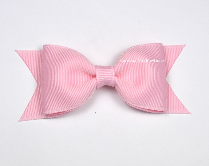 "Light Pink Tuxedo Bow  ~ 3.5"" Hairbow ~ Small Hair Bow ~ Girls Barrette ~ Toddler Bow ~ Baby Hair Bow ~ Hair Clip ~ Girls Hair Bow"