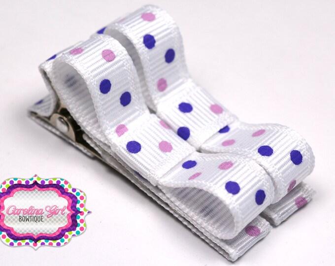 Purple Dots Hair Clips Basic Tuxedo Clips Alligator Non Slip Barrettes for Babies Toddler Girl Set of 2