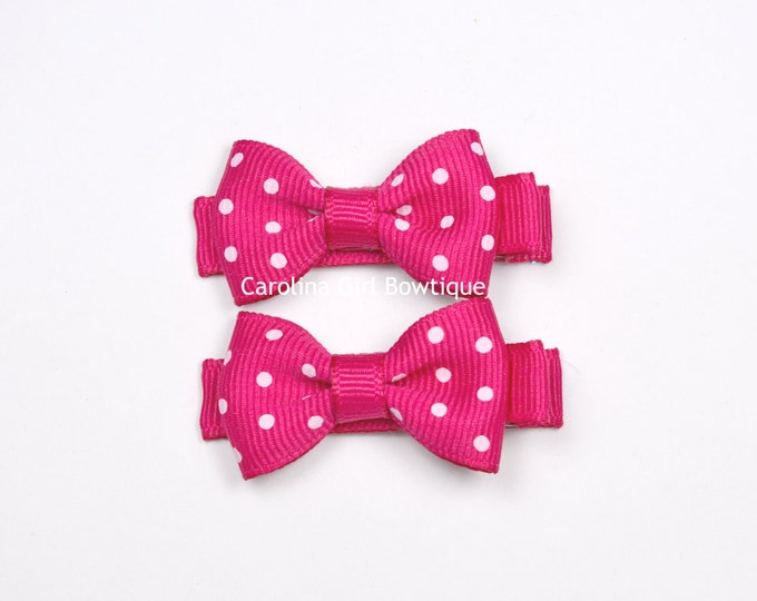 Shocking Pink Dots Hair Bow Set of 2 Small Hairbows - Girls Hair Bows - Clippies - Baby Hair Bows ~ No Slip Grip always added