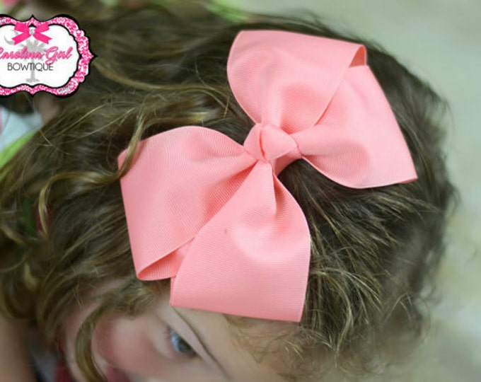 6 in. Coral Hair Bow - XL Hair Bow - Big Hair Bows - Girl Hair Bows