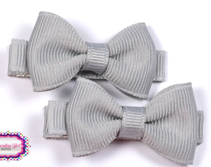 Silver Hair Bow Set of 2 Small Hairbows - Girls Hair Bows - Clippies - Baby Hair Bows