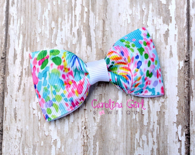 "Catch the Wave ~ 3"" Hair Bow Tuxedo Bow ~ Lilly Inspired ~ Simple Bow ~ Boutique Bow for Babies Toddlers ~ Girls Hair Bows"