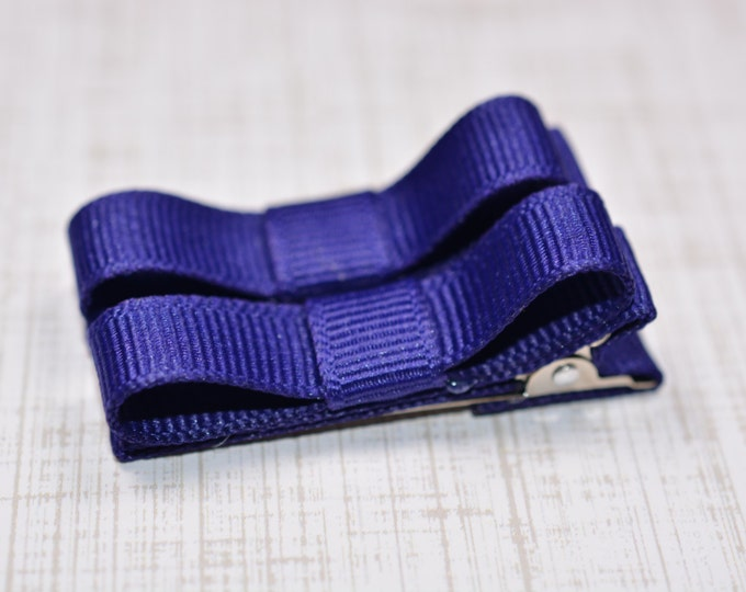 Purple Hair Clips Basic Tuxedo Clips Alligator Non Slip Barrettes for Babies Toddler Girl Set of 2