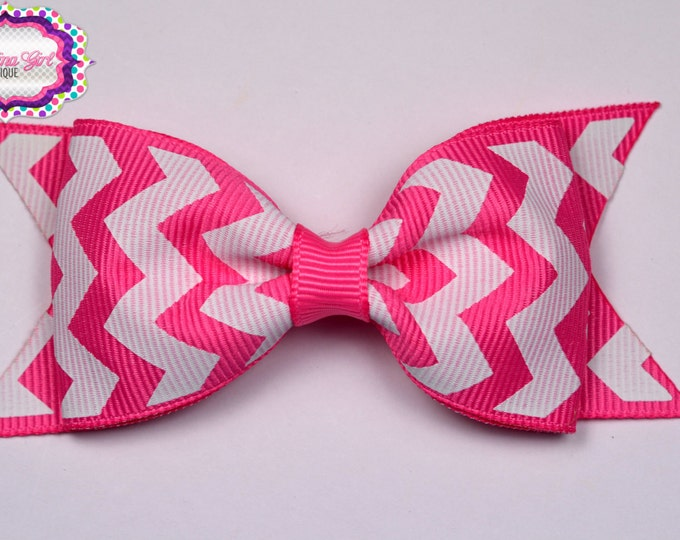 "Hot Pink Chevron Tuxedo Bow  ~ 3.5"" Hairbow ~ Small Hair Bow ~ Girls Barrette ~ Toddler Bow ~ Baby Hair Bow ~ Hair Clip ~ Girls Hair Bow"