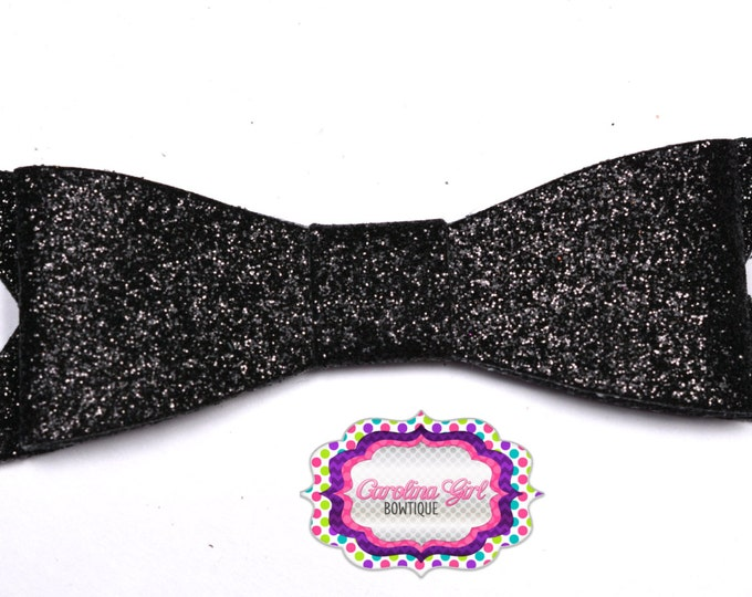 "Black Glitter Felt Tuxedo Bow  ~ 3"" Hairbow ~ Small Hair Bow ~ Girls Barrette ~ Toddler Bow ~ Baby Hair Bow ~ Hair Clip ~ Girls Hair Bow"