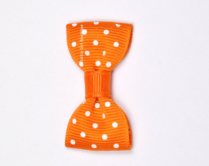 Orange Dots Baby Hair Bow ~ 2 in. Bow with No Slip Grip ~ Small Hair Bows Newborns Toddler Girls