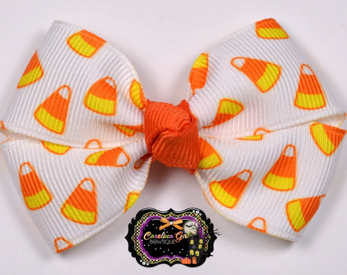 Candy Corn Hair Bow 2.5 Inch Pinwheel Boutique Bow for Babies Toddlers Girls Hair Bows