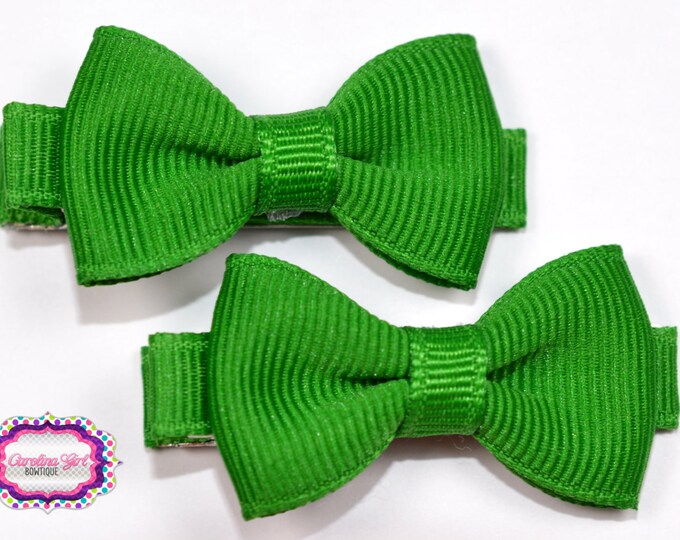 Emerald Green Hair Bow Set of 2 Small Hairbows - Girls Hair Bows - Clippies - Baby Hair Bows - Mini Hair Bow Set