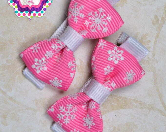 Hot Pink Snowflake Hair Bow Set of 2 Small Hairbows - Girls Hair Bows - Clippies - Baby Hair Bows - Mini Hair Bow Sets