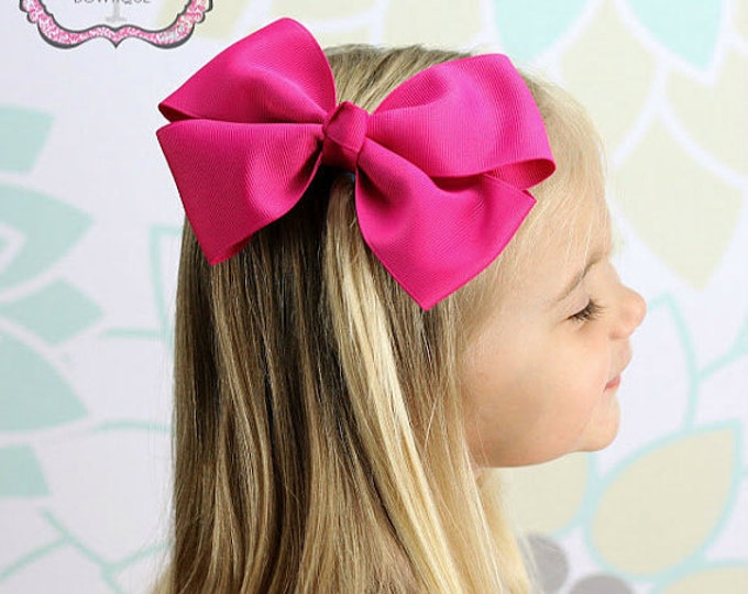 6 in. Shocking Pink Hair Bow - XL Hair Bow - Big Hair Bows - Girl Hair Bows