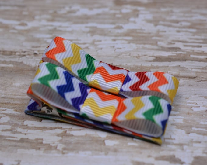 Rainbow Chevron Hair Clips Basic Tuxedo Clips Alligator Non Slip Barrettes for Babies Toddler Girl Set of 2