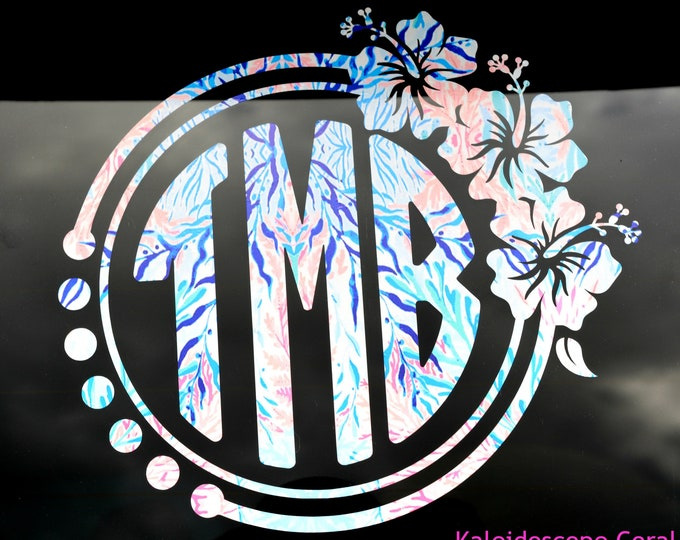 Personalized Lilly Inspired Floral Monogram Decal ~  Lilly Pulitzer Hibiscus Decal ~ Lilly Sticker