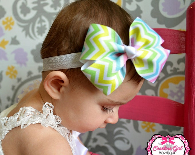 Pastel Chevron Bow Band - Bow on an Elastic Headband Baby Infant Toddler - Girls Hair Bows