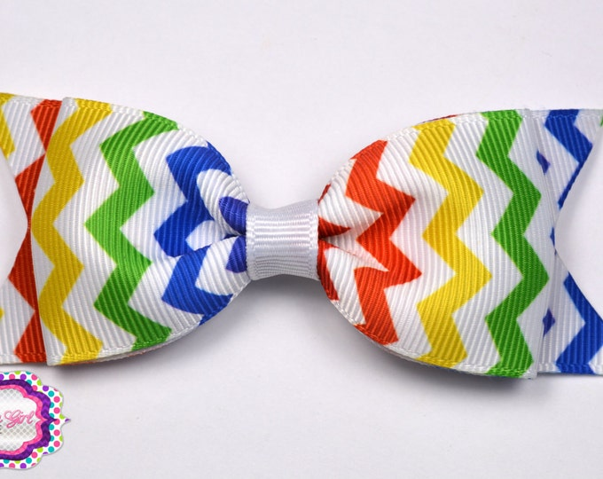 "Rainbow Chevron Tuxedo Bow  ~ 3.5"" Hairbow ~ Small Hair Bow ~ Girls Barrette ~ Toddler Bow ~ Baby Hair Bow ~ Hair Clip ~ Girls Hair Bow"