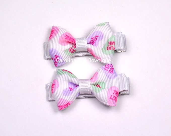 Conversation Hearts Hair Bow Set of 2 Small Hairbows - Girls Hair Bows - Clippies - Hair Bows ~ No Slip Grip always added ~ Valentines Day