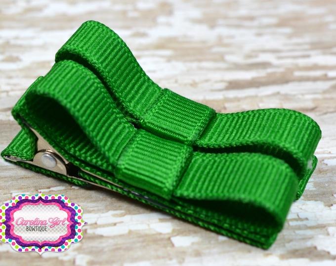 Emerald Green Hair Clips Basic Tuxedo Clips Alligator Non Slip Barrettes for Babies Toddler Girl Set of 2