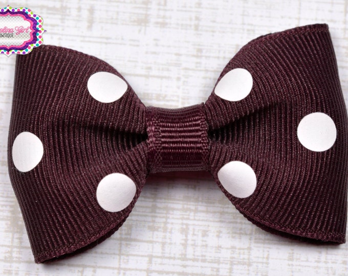 "Maroon Polka Dots Tuxedo Bow ~ 2.5"" Hairbow ~ Small Hair Bow ~ Girls Barrette ~ Toddler Bow ~ Baby Hair Bow ~ Hair Clip ~ Girls Hair Bow"