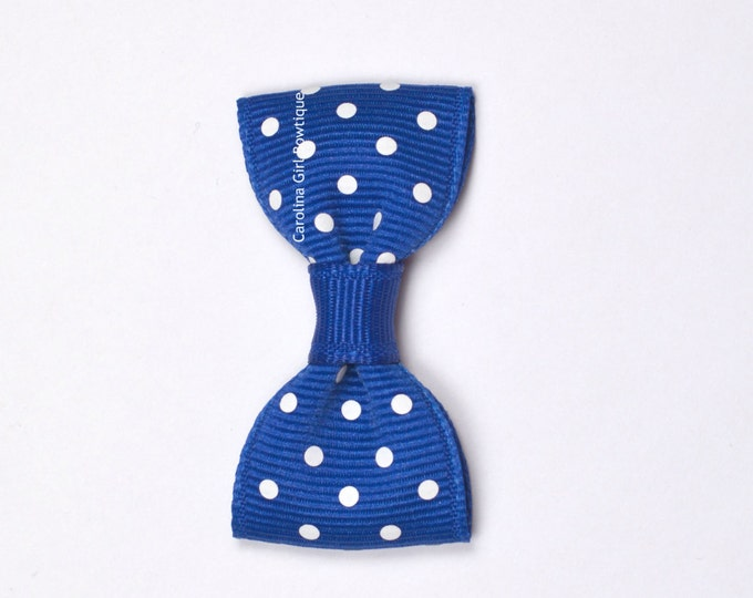 Royal Blue Dots Baby Hair Bow ~ 2 in. Bow with No Slip Grip ~ Small Hair Bows Newborns Toddler Girls