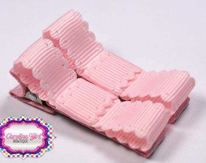 Pink Scalloped Edge Hair Clips Basic Tuxedo Clips Alligator Non Slip Barrettes for Babies Toddler Girl Set of 2