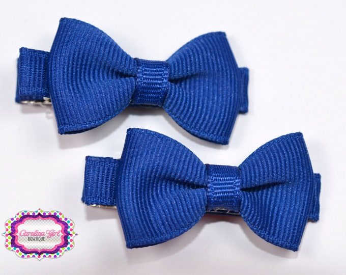 Royal Blue Hair Bow Set of 2 Small Hairbows - Girls Hair Bows - Clippies - Baby Hair Bows
